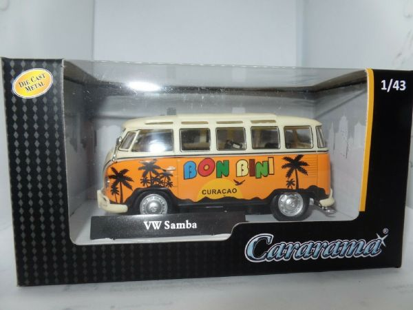 Cararama 4-60351 1/43 Scale Volkswagon VW T1 Samba Bus Bon Bini Orange Cream